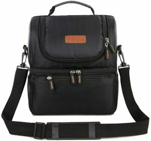 V-Coool Insulated Lunch Bag Tote Bag Insulated Cooler Bag Water-Resistant Black