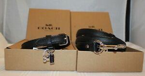 NIB Coach Small Pet Dog Black Crossgrain Leather Collar (26177) & Leash (26178)