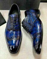 Chaussures Oxford à lacets en cuir véritable bleu à imprimé crocodile pour homme