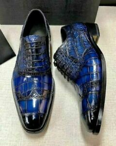 Lace up oxford shoes genuine leather with crocodile print blue for men