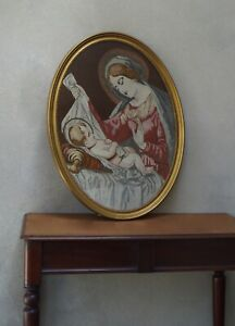 Large Vintage Embroidery Madonna And Child Oval Religious Picture