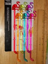 "Flamingo Stirrers 8"" Tall Sturdy Acrylic Drink Cocktail Mix Swizzle Stick COLORS"