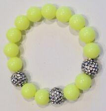 bracelet  moderne en perles jaune et perle incrustée de cristaux diamant / 33