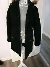 Girls Parka Coat Black With Fur Hood Age 10-11 Years School Coat warm winter