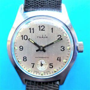 "Typical Wrist Watch, "" Ruhla "", Memory Of Die Ddr-Zeit, Good Function, ca.1965"