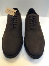 Cole Haan Men 10.5 M Stanton Cap Ox Oxford Dark Brown WP Suede $198 C12006