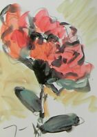 "JOSE TRUJILLO ACRYLIC on Paper PAINTING Red Flower Contemporary Art 9x12"" SIGNED"