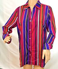 5d1f5283e39d9 Anne Klein Women Size 8 Silky Magenta Blue Button Down Shirt Blouse Top  Jacket