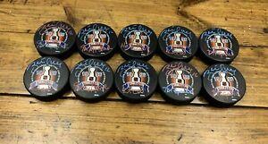 BRETT HULL SIGNED 1996 STANLEY CUP HOCKEY PUCKS NHL w/ INSCRIPTIONS x10 🏒