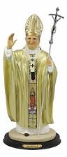 Large Venerable Pope John Paul II With Papal Ferula Crucifix In Gold Robe Statue