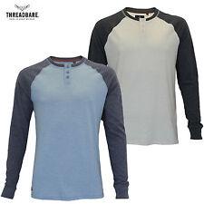 Mens Threadbare Granddad Collar Contrast Colour Long sleeve T-shirt Top