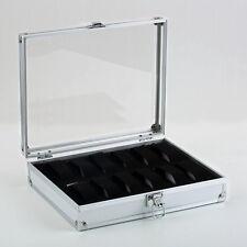12 Grid Slots Jewelry Watches Display Storage Box Case Aluminium Square NEW LX