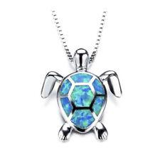 Cute Fire Opal Sea Turtle Pendant Choker Chain Necklace Women Jewelry Gift.