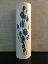 Ceramic Vase Hand Painted With Blue Flowers