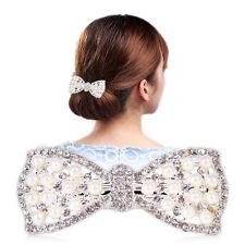 Neu Damen Strass Kristall Schleife Haarschmuck Haarclip Haarklammer Haarschleife
