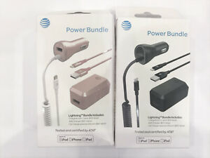 New OEM AT&T Lightning Power Bundle CAR + HOME Charger For iPhone X/XS MAX/XR