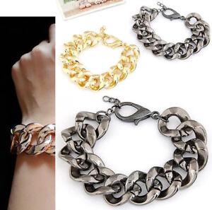 Unisex Punk Chunky Link Chain Bracelet Gold Shiny Bangle Fashion Jewelry Gift