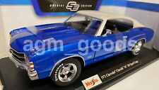 Maisto 1:18 Scale - 1971 Chevrolet Chevelle SS 455 - Blue - Diecast Model Car