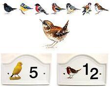Wren Bird House Numero Porta Placca in ceramica casa segno QUALSIASI NUMERO