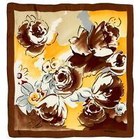JEHAN DE FABREGUES FLORAL BROWN LARGE Silk Scarf 31/30 INCHES