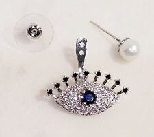 Rhodium Plated, Sapphire, CZ & Faux Pearl Studs with Evil Eye Jacket Earrings