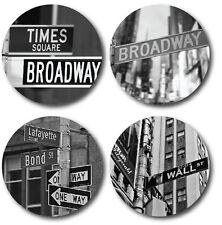 New York Signs - Set of 4 Rounded Coasters - High quality - Ideal gift