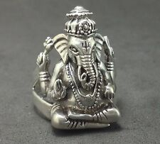 Mens Lord Hindu Ganesh Elephant 925 Sterling Silver India Yoga Jewelry Ring