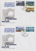 DDR FDC 3203 - 3207 auf 2 FDCs mit SST Berlin Denkmale 1988, fist day cover