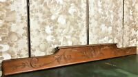 Large scroll leaf wood carving pediment Antique french salvaged crest cornice