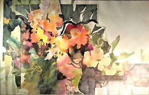 NY Artist M.A. HEINZEN LARGE Sd ORIGINAL FLORAL WATERCOLOR Construct MIXED MEDIA