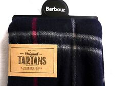 New BARBOUR 100% Wool Classic Navy Red TARTAN Scarf Tags ORIGINAL PACK BoxBB