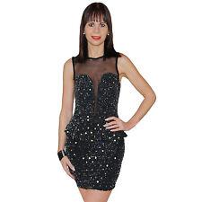 Neu Schößchen Kleid Party Tüll Minikleid Pailletten Abendkleid Silber 34 36 38