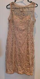 Bnwt Adrianna Papell Sz 12 Nude Gold Beaded Dress