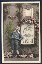 Carte Postale de 1909 1er AVRIL à Mr et Mme QUESTAIGNE Epiciers LES ANDELYS