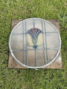 Antique Vintage Leaded stained glass round window