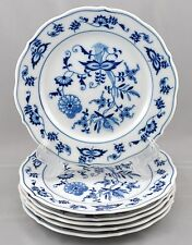 6 Blue Danube Japan Bread Butter Plates Blue Onion Pattern Rectangle Mark