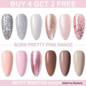 BORN PRETTY Nail Gel Polish Rose Gold Glitter Soak Off UV LED Varnish Jelly Pink