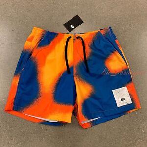 NWT Nike CZ8962-739 Men's Standard Mid Thigh Shorts Polyester Blue Orange Size M