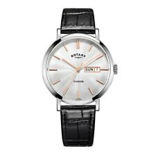 Rotary Windsor Mens Watch Black Leather Strap & Silver Dial GS05304/06