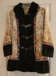 Vtg 60s 70s Lined Crushed Velvet Coat Embroidered Faux Fur Boho Jacket Hippie