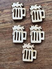 10 X MINI IN LEGNO Pinta/birre Abbellimento Craft Card Scrapbook ART Sd517