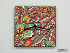 Colorful Flower Abstract seamless pattern Wall Clock