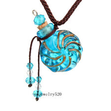 Round Gold Dust oil ashes urn bottle cork Blue Glass pendant vial Necklace New