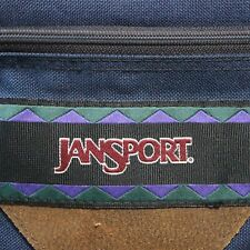 VTG JanSport Backpack Bag Leather Bottom Aztec Tribal Design Blue 90s