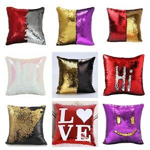 "17"" Magic Mermaid Pillow Case Reversible Sequin Glitter Sofa Cushion Cover Touch"