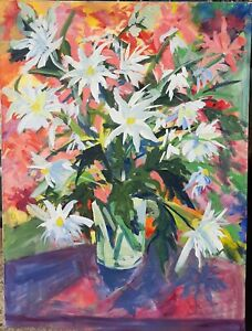 """Still Life w Flowers Abstract Modernist Masterwork Unsigned 46"""" Lee Rumsey"""