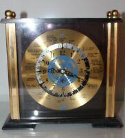 TAKANE Plane Clock Date Line World Time Zone Desk Mantel Gold Quartz Japan Works