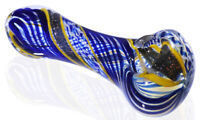 """8/"""" Striped Sherlock Fumed 24KT Rustic Red Glass Hand Pipe Spoon Pipe *USA*"""