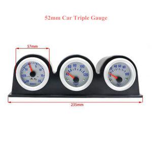 Vehicle 3in1 Triple Gauge Kit Volt Meter Water Temp Oil Pressure Dash Panel 52mm
