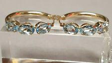 Vintage 14K Yellow Gold Oval Aquamarine Pierced Hoop Earrings